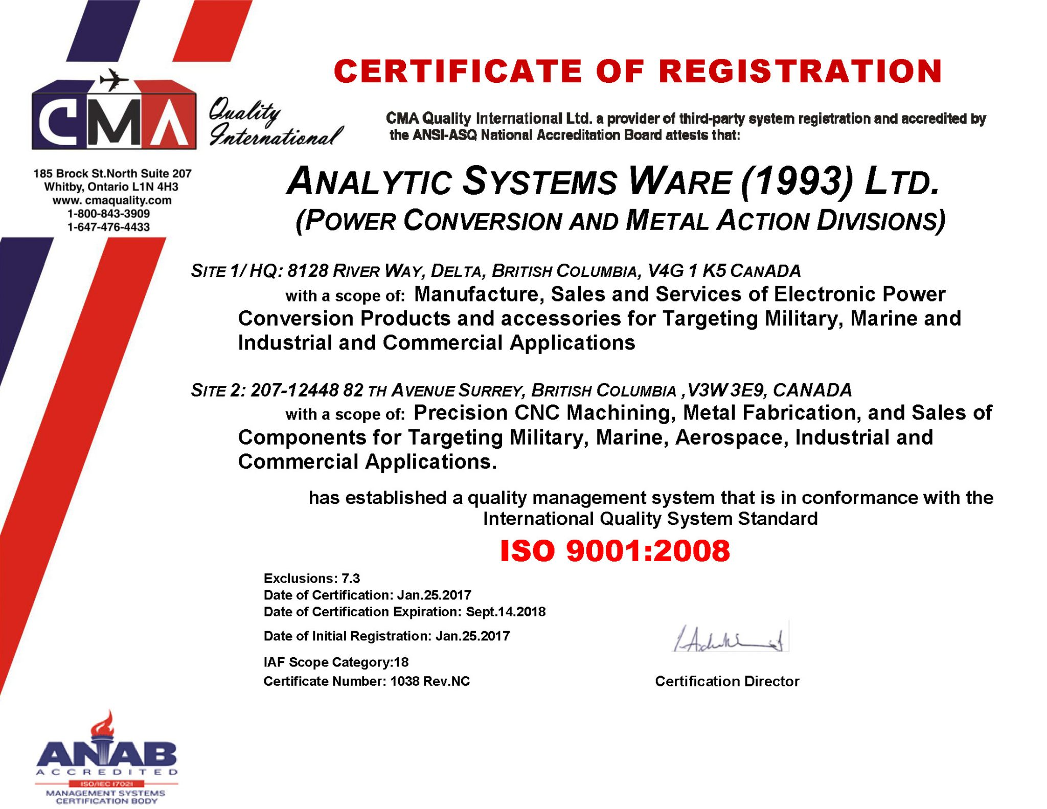 Analytic Systems Certified to ISO 9001-2008