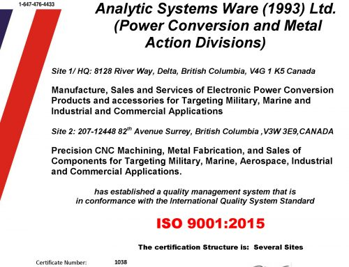 Press Release – Analytic Systems Certified to ISO9001:2015 Quality Standard